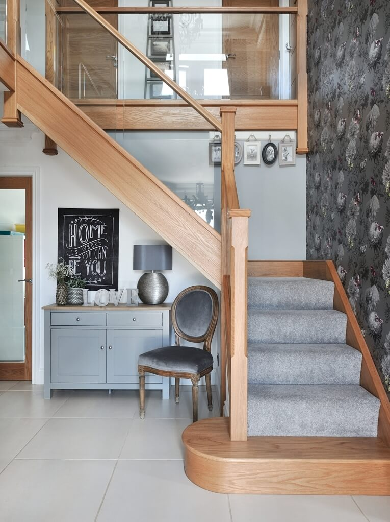... Of Glass And Natural Oak With Carpeted Treads That Sweep Around The  First Floor Landing. This Allowed Us To Create A Contemporary Style  Staircase With A ...