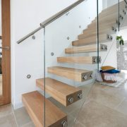 metal handrail floating staircase