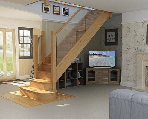 CAD mock-up of the new staircase
