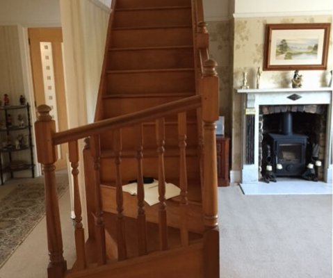 The Carris' staircase before