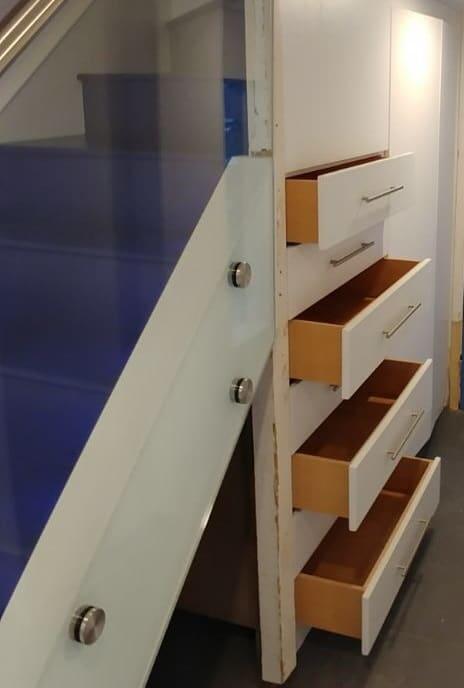 Blue staircase design storage