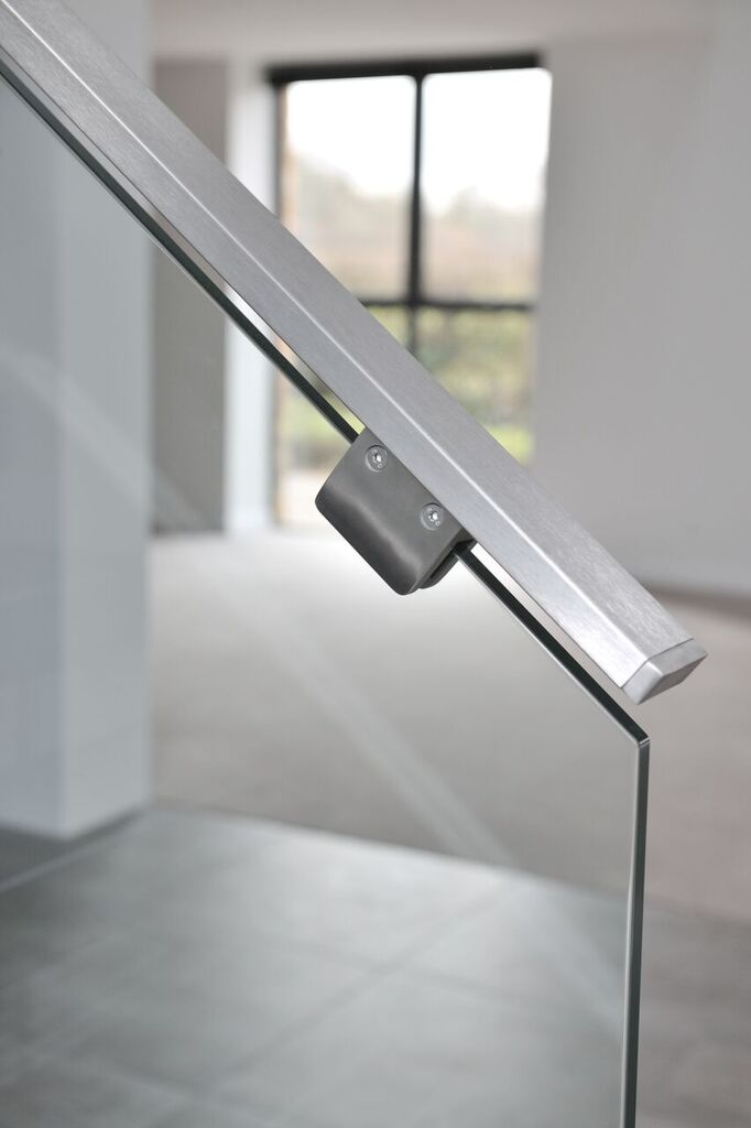 Custom brushed steel handrails