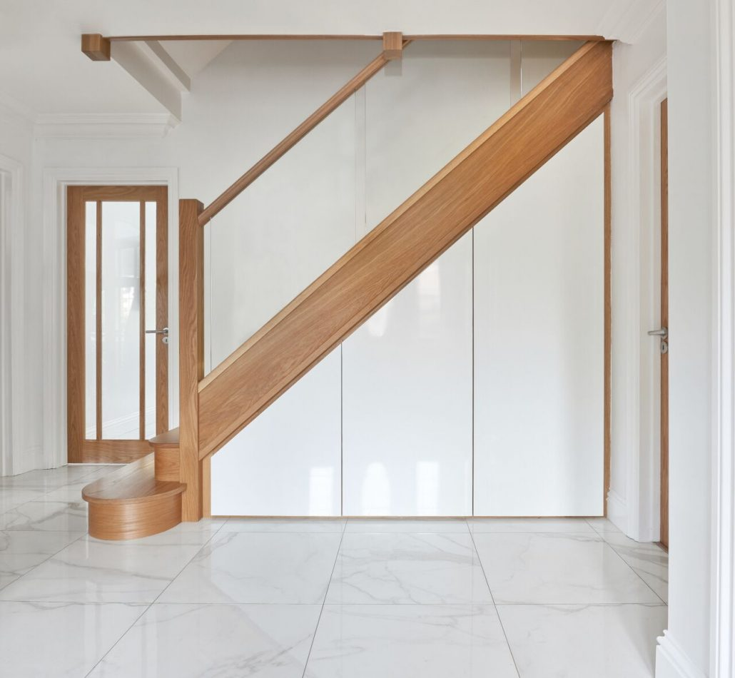 The Existing Staircase Has Been Fully Upgraded With New Posts, Glass  Balustrade And Oak Treads And Risers Complete With LED Downlights.